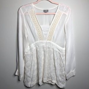 J. Jill Embroidered Pheasant Style Top White